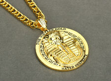 "New Last Kings PHARAOH Gold Pendant Iced Out Necklace with 32"" Hip Hop Chain"