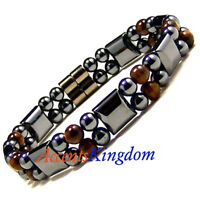 Accents Kingdom Men's Magnetic Hematite Dual Strand Tiger's Eyes Bracelet