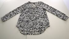 MOSSIMO Women's Top Blouse Medium (M/M) White Black Long Sleeve 100% Polyester