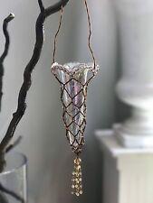 HANGING Iridescent GLASS HANGING FLOWER VASE ART Beads Bronze UNIQUE GARDEN