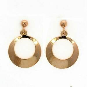 9 ct red (rose) gold ball stud earrings with open circles