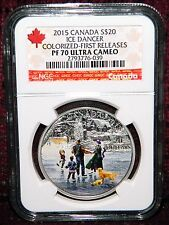 2015 CANADA $20 ICE DANCER COLORED SILVER COIN W/BOX - NGC PF 70 ULTRA CAMEO FR