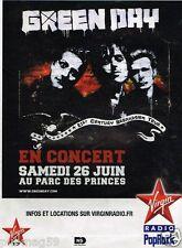 Publicité Advertising 2010 Concert Green Day Parc des Princes avec Virgin radio
