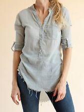 NSF Sera Gauze Cotton Button Down Tunic Blouse Blue Green Size: M Medium