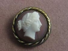 LATE VICTORIAN CARVED HARDSTONE / HARD STONE CAMEO PIN W/ ROLLED GOLD FRAME