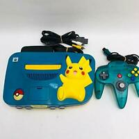 NINTENDO 64 Limited Pikachu Console N64 Blue Yellow Used Pokemon W/ Controller