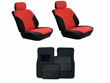Red & Black Seat Covers with Black Carpet floor Mats for Cars SUVS- 8 Pcs Combo