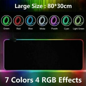 Large Anti-Slip RGB LED Gaming Mouse Mat 80*40cm for Desk PC Laptop Keyboard Pad