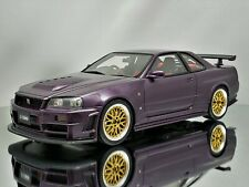 Otto Mobile Nissan Skyline GT-R R34 Nismo Z-Tune Midnight Purple Gold Rims 1:18