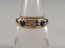 Unbehandelte Diamanten Ringe mit Saphir aus Gelbgold