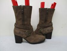 Born Brown Leather Zip Mid Calf High Heel Boots Size 10 M/W Style D17306