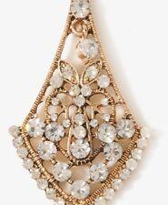NWT Forever 21  Vtg Antique Gold Clear Gem Rhinestone Dangle Crystal Earrings