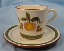 Stangl Apple Delight Flat Cup & Saucer Set Vintage Redware Dinnerware