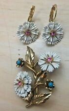 Joan Rivers Vintage Victorian Aster Pin with Matching Pierced Earrings