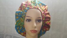 SATIN LINED BONNET HAT CLOUCH.AFRICAN PRINT FABRIC