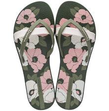 Ipanema Kirei Silk Flower Womens Beach Flip Flops Summer Sandals Floral Khaki