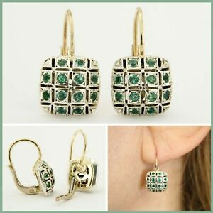 14ct 14k Real Yellow GOLD and Natural Genuine Green EMERALD Square Drop Earrings