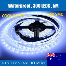 Cool White Waterproof 5M 5050 SMD 300 LED Strip Light+ AC 240V to DC 12V Adapter