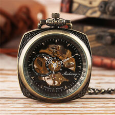 Copper Open Face Square Hand Winding Mechanical Pocket Watch Pandent Fob Chain