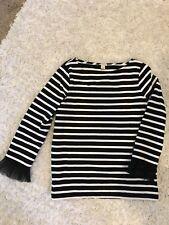 J Crew Womens Stripe Long Shirt size S Black White