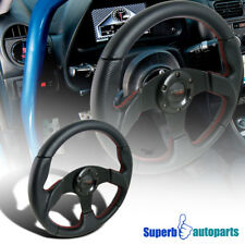 Universal 320mm Racing Steering Wheel JDM Black Leather/ Red Stitch