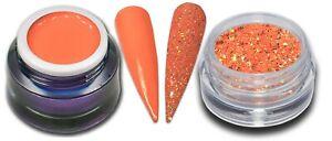 5ml Premium Farbgel Ice Tea Pastell Orange Peach mit Glitter Puder Set Nagelgel