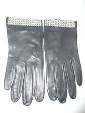 Jaeger Ladies Black Leather & Swarovski Crystal Cuff Gloves - Size M
