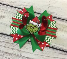 5� Red And Green The Grinch Christmas Boutique Hair Bow