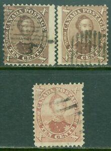 EDW1949SELL : CANADA 1859 Scott #17, 17a, 17b. 3 shades. VG, Used. Catalog $475.