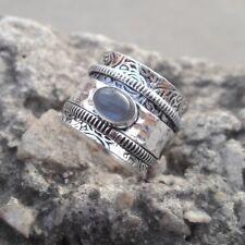Labradorite Stone Solid 925 Sterling Silver Spinner Ring Meditation Ring Size