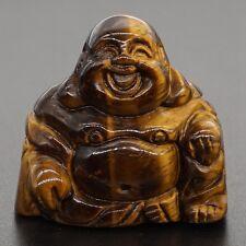"1.2"" Yellow Tiger Eye Carved Maitreya Buddha Figurine Chakra Healing Reiki"