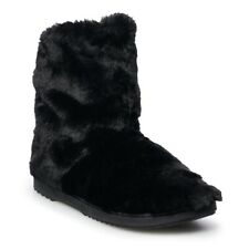 Indoor/Outdoor Ultra Soft Black Faux Fur Boot Slippers Medium 7/8