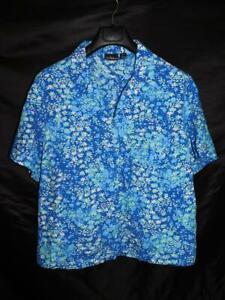 Erika 2X Blue White Floral Shirt Short Sleeve V Neck Button Cotton Rayon Woman