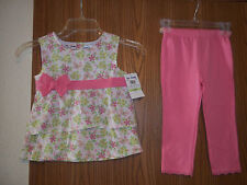 B.T. Kids 2 Piece Top Pants Girls Size 6 Pink Flowered New With Tags