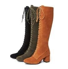 Women's Suede Leather Mid Calf Boots Lace Up Block Med Heels Slim Leg Tall Shoes