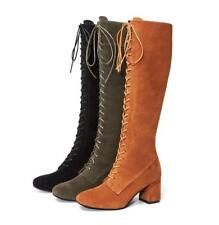 Women Suede Leather Mid Calf Boots Lace Up Block Med Heels Slim Leg Tall Shoes