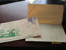 Commemorating 1st Ann Run Hillsdale County Railway Co Letter & stamped Michigan