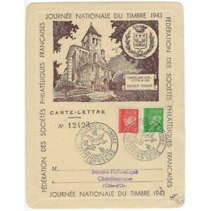CARTE-LETTRE 12423 JOURNEE NATIONALE DU TIMBRE 1943 CHATILLON SUR SEINE 10 OCTOB