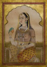 A Bejeweled Maiden with Parakeet Indian Art Hinduism 12x8 Inch Print