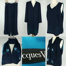 Jacques Vert Blue 4 PCS Mother Of The Bride Pant Suits Embroidered Size 16 L