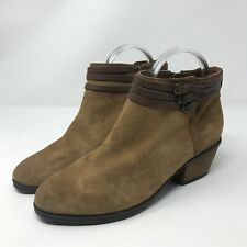 Clarks Suede Ankle Boots Womens 6.5 Tan Brown Stacked Heel