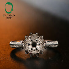 Unplated 10K White Gold 7mm Round Cut 0.40ct H SI Diamonds Ring Settings