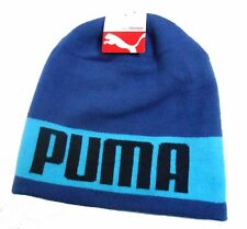 Reversible PUMA Slouch Beanie Blue Winter Hat Solid/Stripes New With Tag