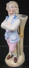 Antique 19th C German Porcelain Figurine Young Boy Resting Pack Match Holder
