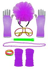 80's Neon Accessories Fancy Dress Pink Flo Hen Party Fishnet Gloves UV Green