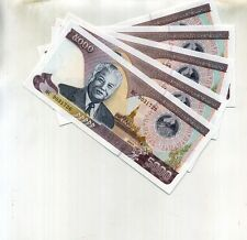 LAOS 5000 KIP 2003 5 CONSECUTIVELY NUMBERED NOTES CU 2678F