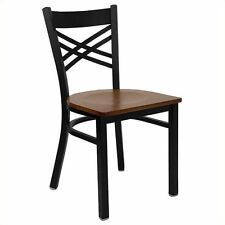 Flash Furniture HERCULES Series Black X Back Metal Chair with Cherry Wood Seat