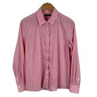 Sportscraft Womens Top Button Shirt Size 12 Pink Long Sleeve Collared