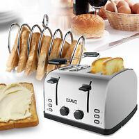 Toaster 4 Scheiben Brötchenaufsatz 7 Stufen Zentrierfunktion 1500W Edelstahl