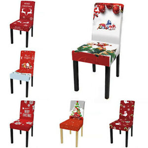 Christmas Dining Chair Seat Covers Stretch Santa Claus Banquet Party Slipcovers